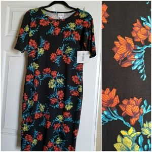 Lularoe Julia Black with Tropical Floral Pattern